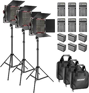 Neewer 3-Pack 660 Led Video Luz Regulable Bi-Color con Parasol Y 1,83Cm Soporte De Luz,6-Pack 6600Mah Batería Li-Ion Recargable Y Cargador para Fotografía Estudio Youtube Video (Rojo/Negro): Amazon.es: Electrónica