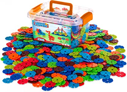 Creative Kids Flakes - 600 Piece Interlocking Plastic Disc Set for Fun, Creative Building - Educational STEM Construction Toy for Boys & Girls - Non Toxic, Ages 3+
