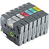 Premium Lot de 7 Ruban pour Etiqueteuse Cassettes -Cassette Tape Pour Brother 1x TZ-121 XL + 1x TZ-221 XL + 1x TZ-421 XL + 1x TZ-521 XL + 1x TZ-621 XL + 1x TZ-721 XL + 1x TZ-921 XL Alaskaprint Tinte Black, je 9mm, Pour Brother P-Touch 7erSetRuban pour Etiqueteuse Cassettes 21