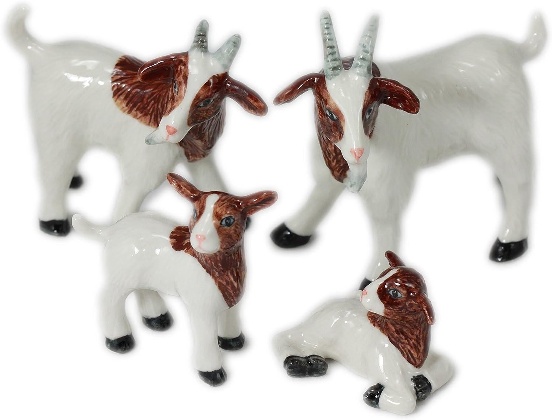 4 Goats Family Set Miniature Animal Statue Pottery Handmade Figurine (2