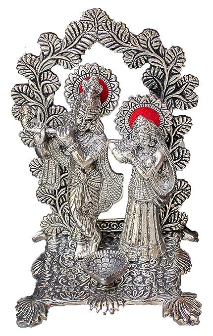 Crafticia Oxidized White Silver Metal Lord Radha Krishna Idol With Diya Handmade Handicraft For Home Decor Gift Item