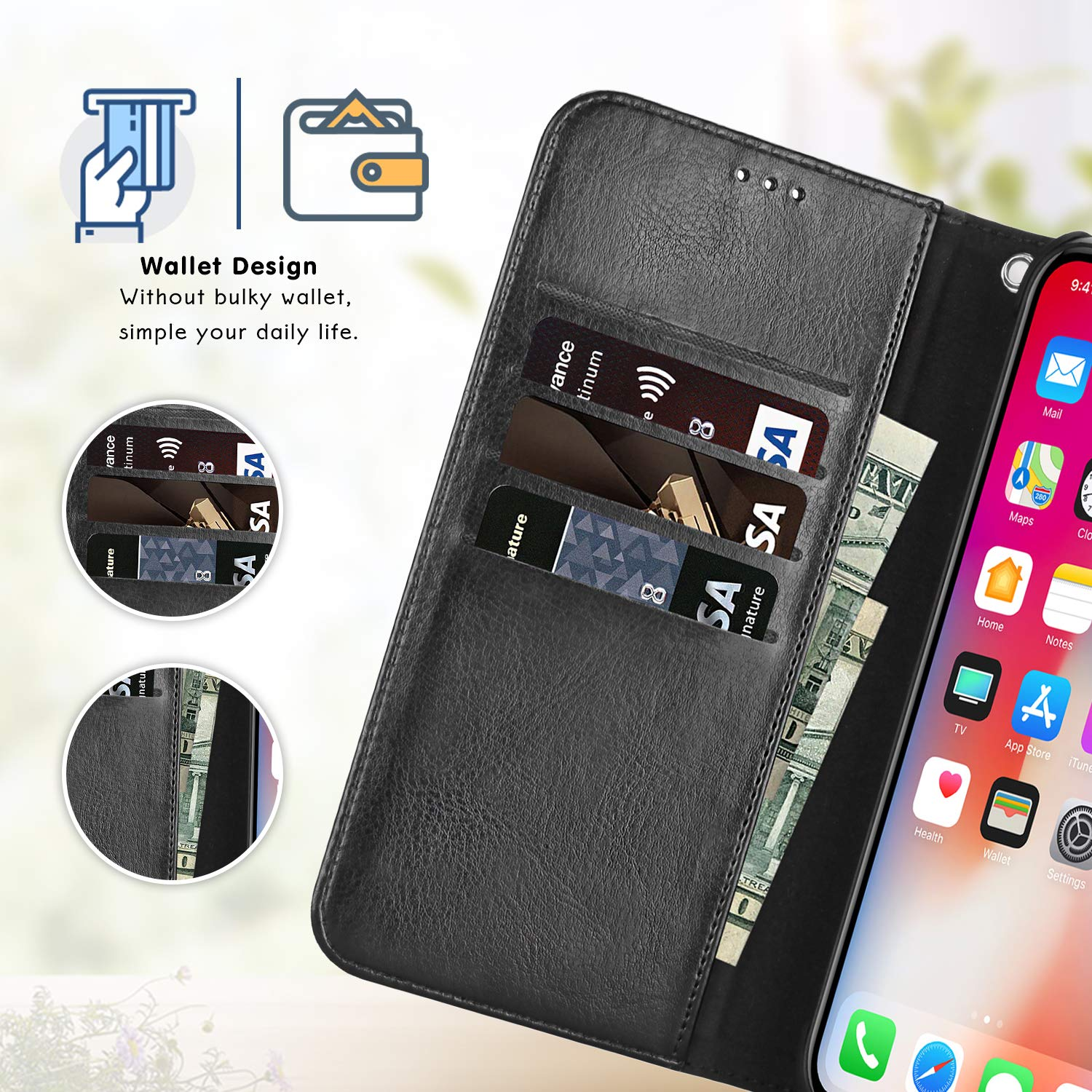 lopie iPhone Xs/X Wallet Case Detachable, [Explorer Series] 2-in-1 Slim  iPhone Xs/X Leather Case with a Removable Vegan Leather Folio Flip Cover,