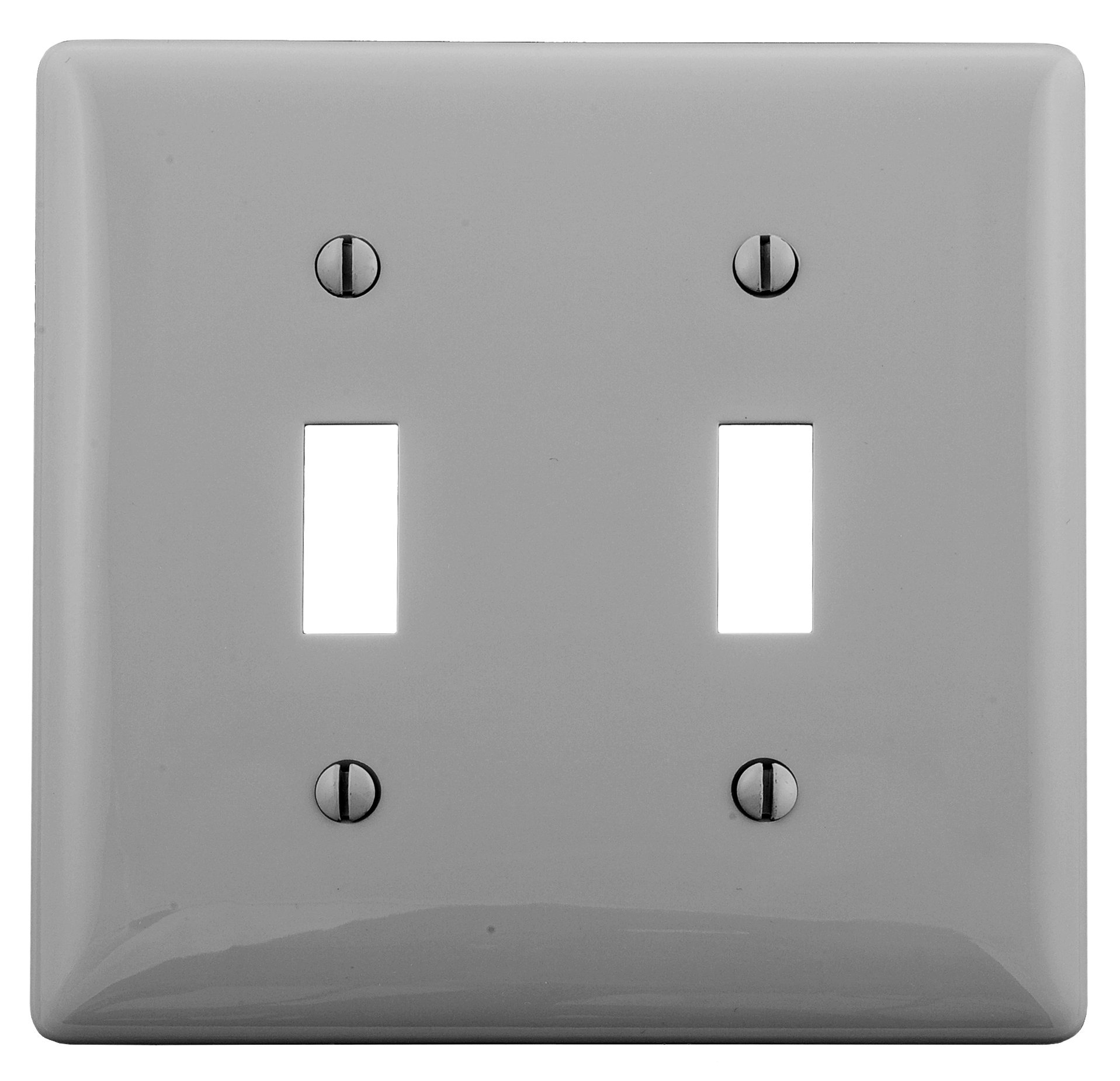 Bryant Electric NP2GY 2-Gang 2-Toggle Nylon Wallplate, Gray