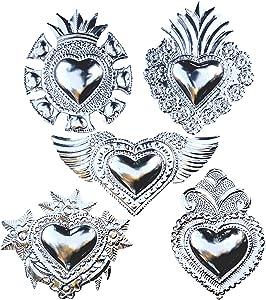 "Mexican Hearts Art Wall Decor 5 Pieces Silver Metal Charms 6"" Tin Folk Art Sacred Mexican Wall Decorations Milagros Mexicanos -Handmade"