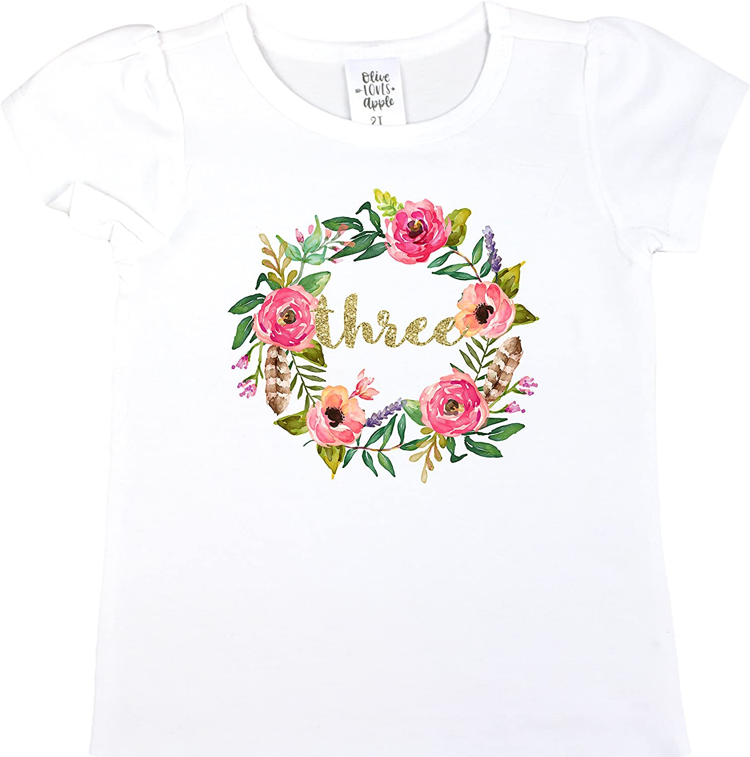 Girls 3rd Birthday Shirt Floral Boho Watercolor Wreath Glitter Gold Three Shirt