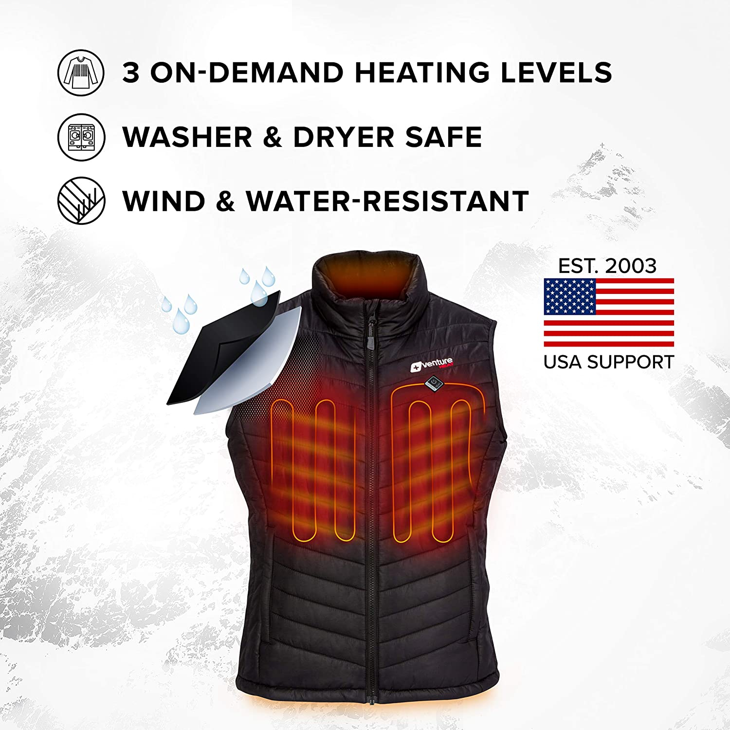 Puffer Vest Insulated Electric Jacket Roam 2.0 Venture Heat Womens Heated Vest with Battery Pack