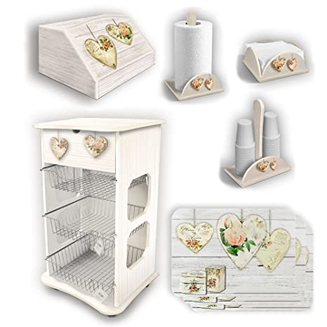 5243b64282a5aa Set da cucina shabby con carrello, portapane e accessori: Amazon.it ...