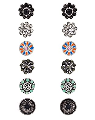 27 Pairs Stud Earrings Bohemian Retro Vintage Style Mixed Design Earring Sets and Round Stud Earrings Ujonrr4