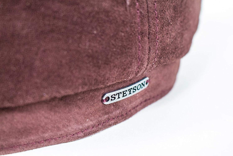 21ec94b9c344d8 Stetson Hats Nubuck Leather Hatteras Bakerboy Cap - Burgundy: Amazon.co.uk:  Clothing