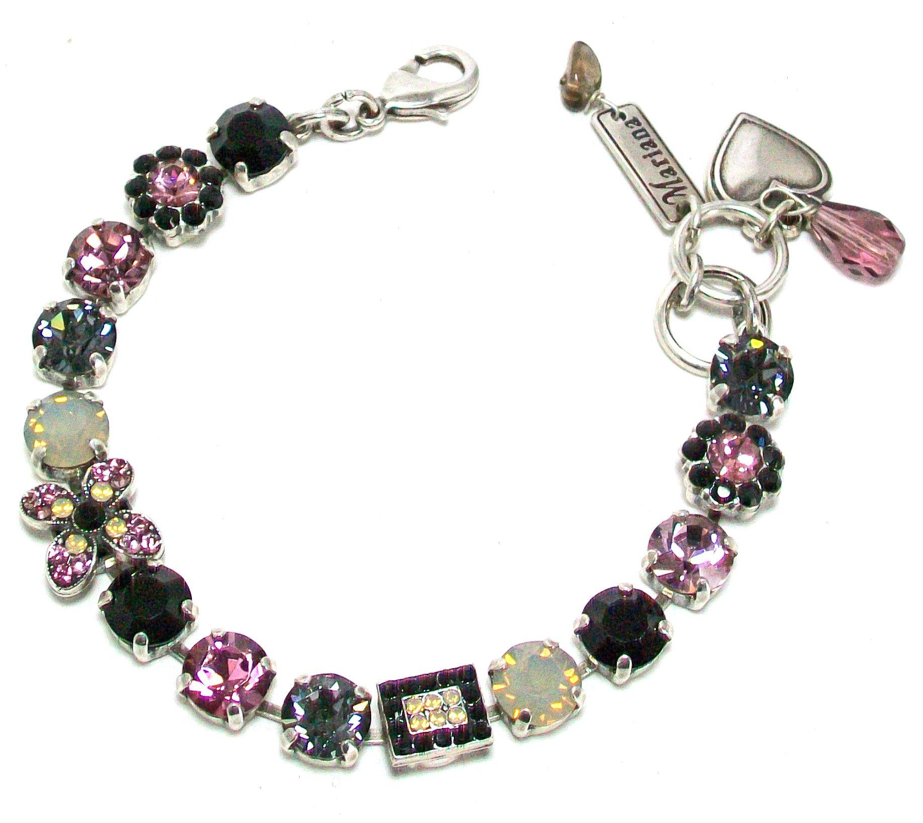 Mariana ''Romance'' Antique Silver Plated Swarovski Crystal Tennis Bracelet, 7.5''