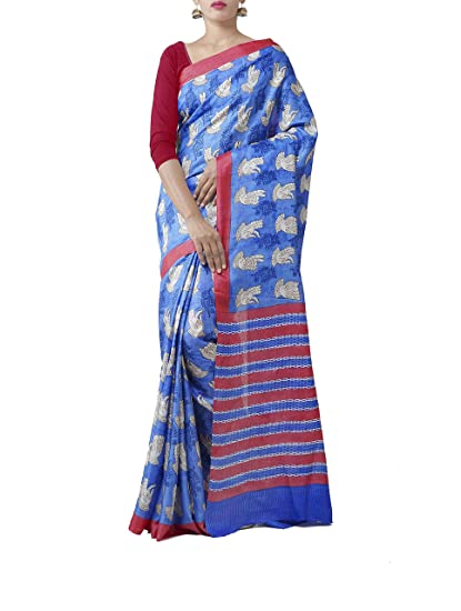 8a0f12f032 Unnati Silks Women Pure Tussar Silk Saree Saree with blouse piece from the  Weavers of Chattisgarh