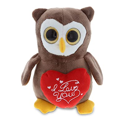 DolliBu Big Eye Owl I Love You Message Stuffed Animal 6 Inch, for Boyfriend or Girlfriend, Cute Teddy Bear with Heart Plush Toy for Friend, Romantic Anniversary or Valentine Gift: Toys & Games