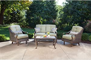 Hanover VENTURA4PC Ventura 4-Piece Indoor Lounging Set Outdoor Furniture, Vintage Meadow