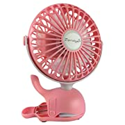 Clip On Baby Stroller Fan With Rechargeable Battery Perfect for Infant Crib, Golf Cart, Car Seat, Office Desk, Camping, or Workout in A Playful Whale Design, Pink