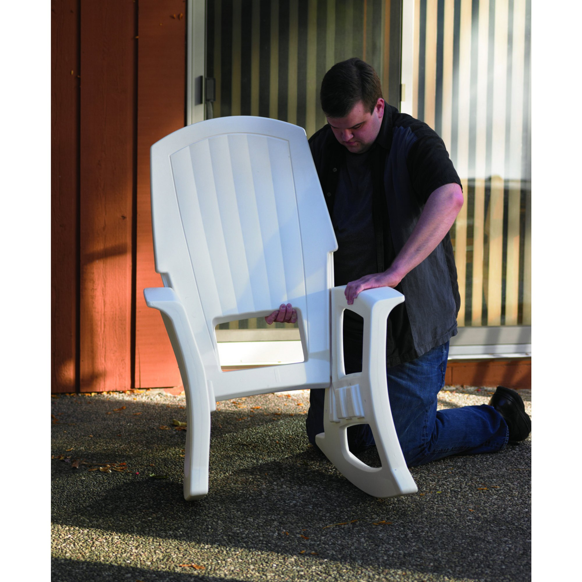White Outdoor Rocking Chair, 600-Lb. Capacity by Semco Plastic Co Inc
