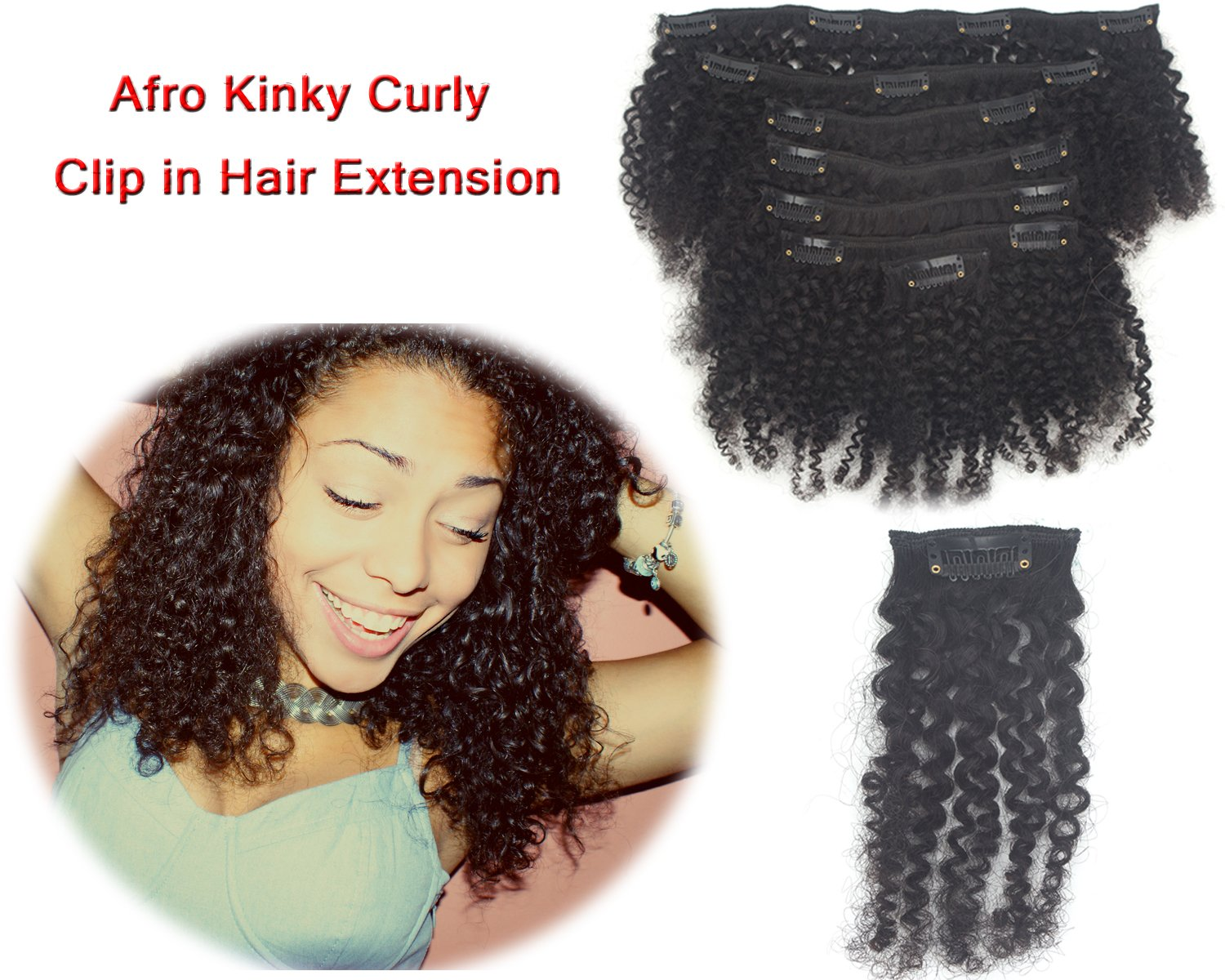 Amazon Remy Afro Kinky Curly Clip In Hair Extensions Double