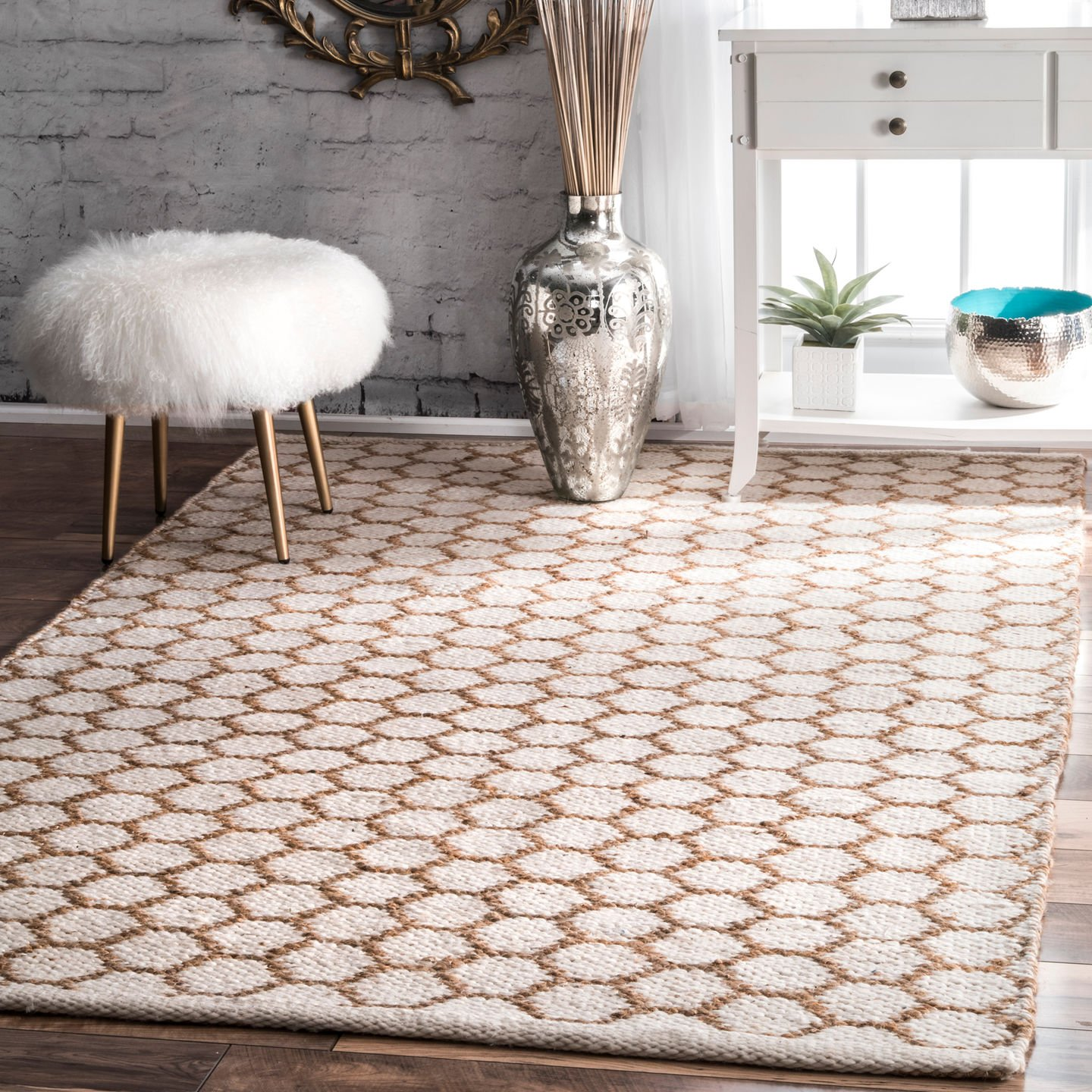 nuLOOM Alisha Honeycomb Reversible Jute Rug, 5 x 8 , Natural