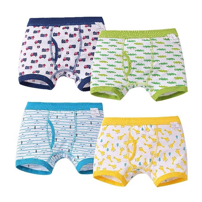 Feicuan Calzoncillos niño - Bóxers Ropa Interior Niños Slip Algodón Impreso 2-7 años Pack de 4: Amazon.es: Ropa y accesorios