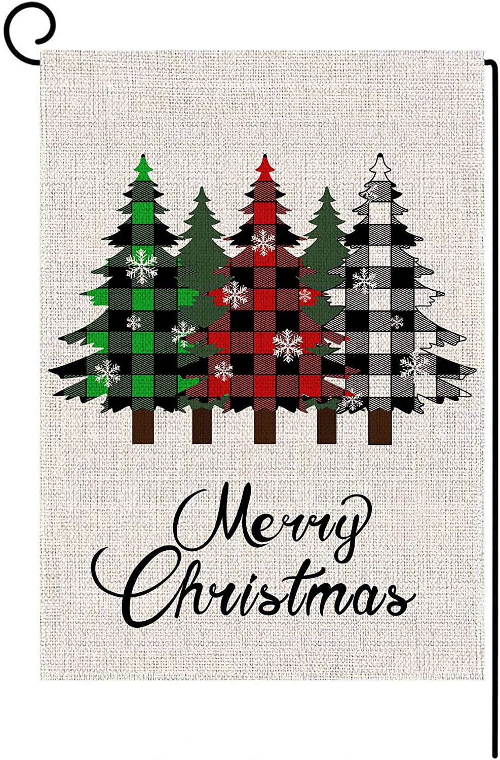 LANMEI Merry Christmas Garden Flag Vertical Double Sided Winter Buffalo Plaid Tree Yard Flag, Christmas Holiday Rustic Yard Outdoor Decoration 12.5 x 18 Inch