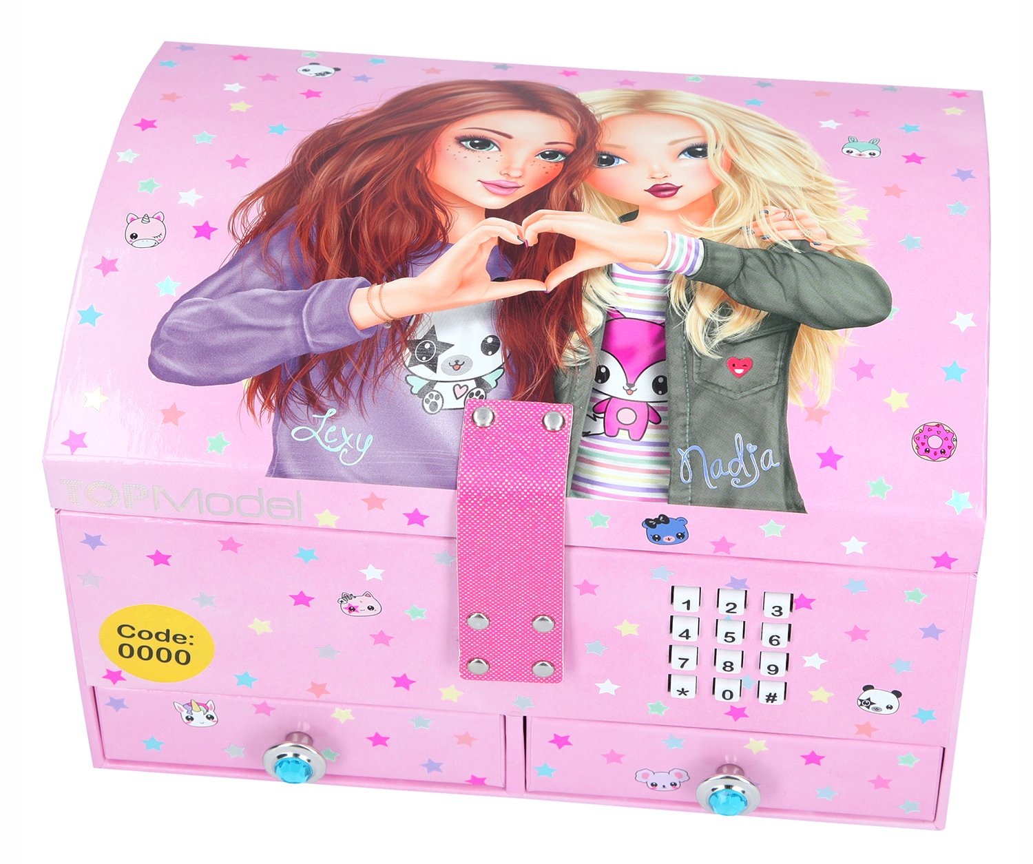 Top Model Jewellery Box with Key and Sound–Pink Depesche 10163