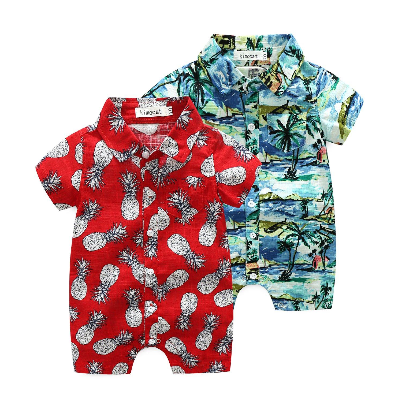 Magic Elf Newborn Baby Boy Bodysuit Romper Beach Coconut Tree Printed Summer Hawaiian Outfits