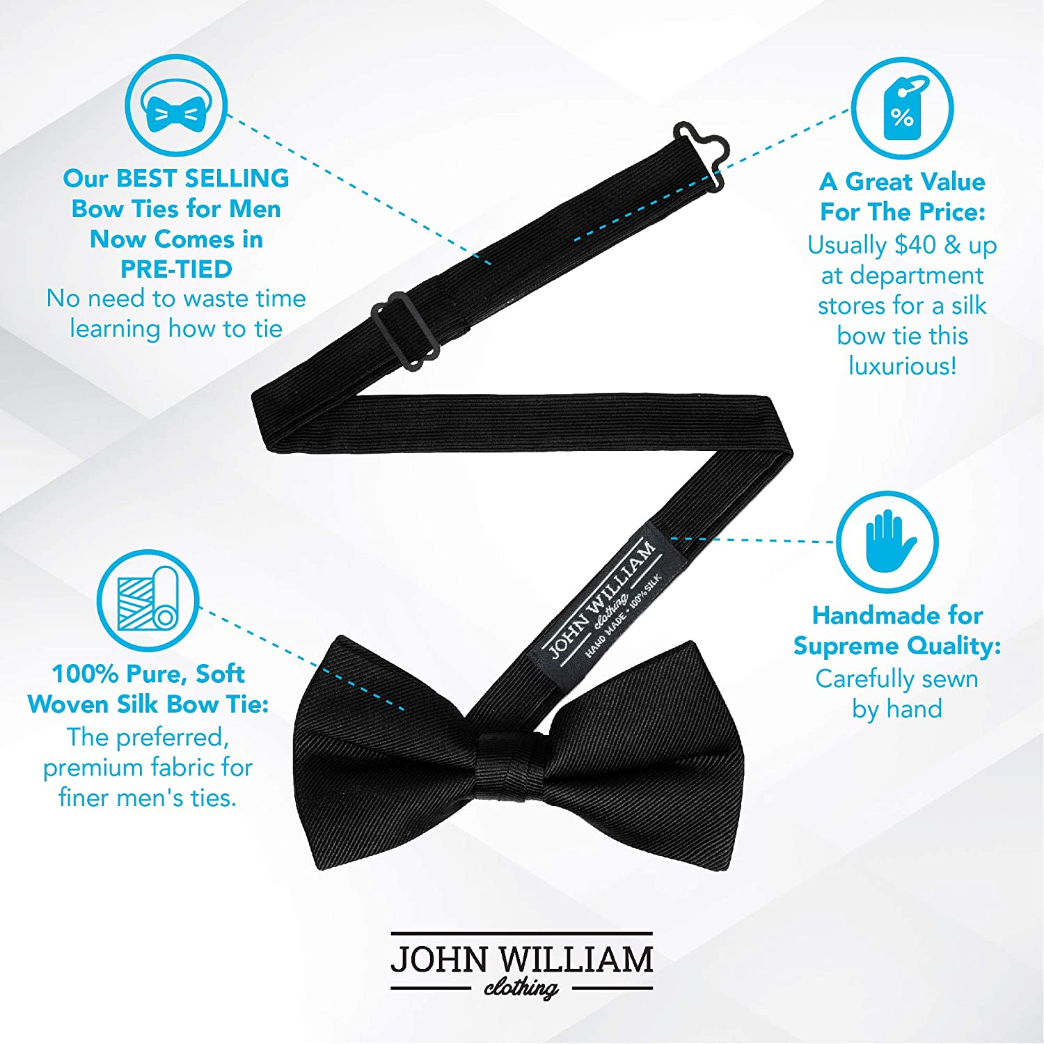 f0d62c6b4ffb 100% Silk Mens Bowtie Pre Tied Bow Ties for Men Tuxedo Bow Tie by John  William - Black at Amazon Men's Clothing store: