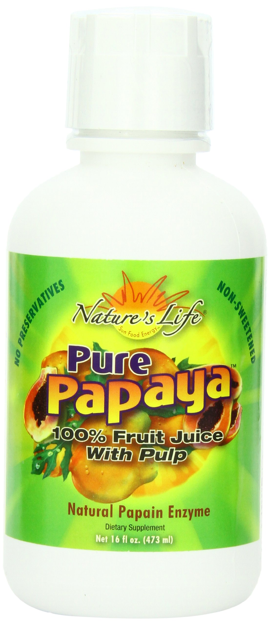 Nature's Life Pure Papaya with Pulp, Natural, 16 Ounce