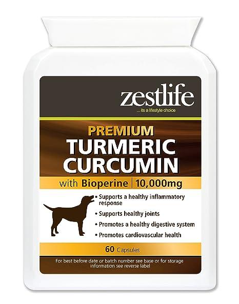 Zestlife Cúrcuma para perros 500 mg extracto equivalente a 10,000 mg. Suplemento antiinflamatorio para articulaciones