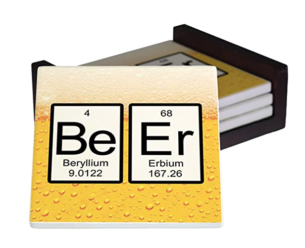 Table Caddy Set Part - 20: Beer Periodic Table Of Elements 4-Piece Sandstone Coaster Set - Caddy  Included