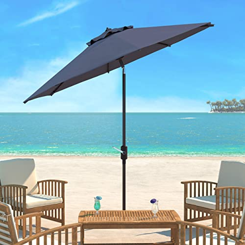 Safavieh PAT8001E Outdoor Collection Ortega Grey Uv Resistant 9 Ft Auto Tilt Crank Umbrella