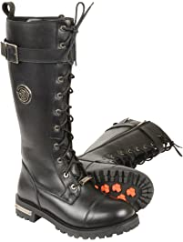 Milwaukee Leather Women's Tall Boots with Lacing (Black, Size 8.5)