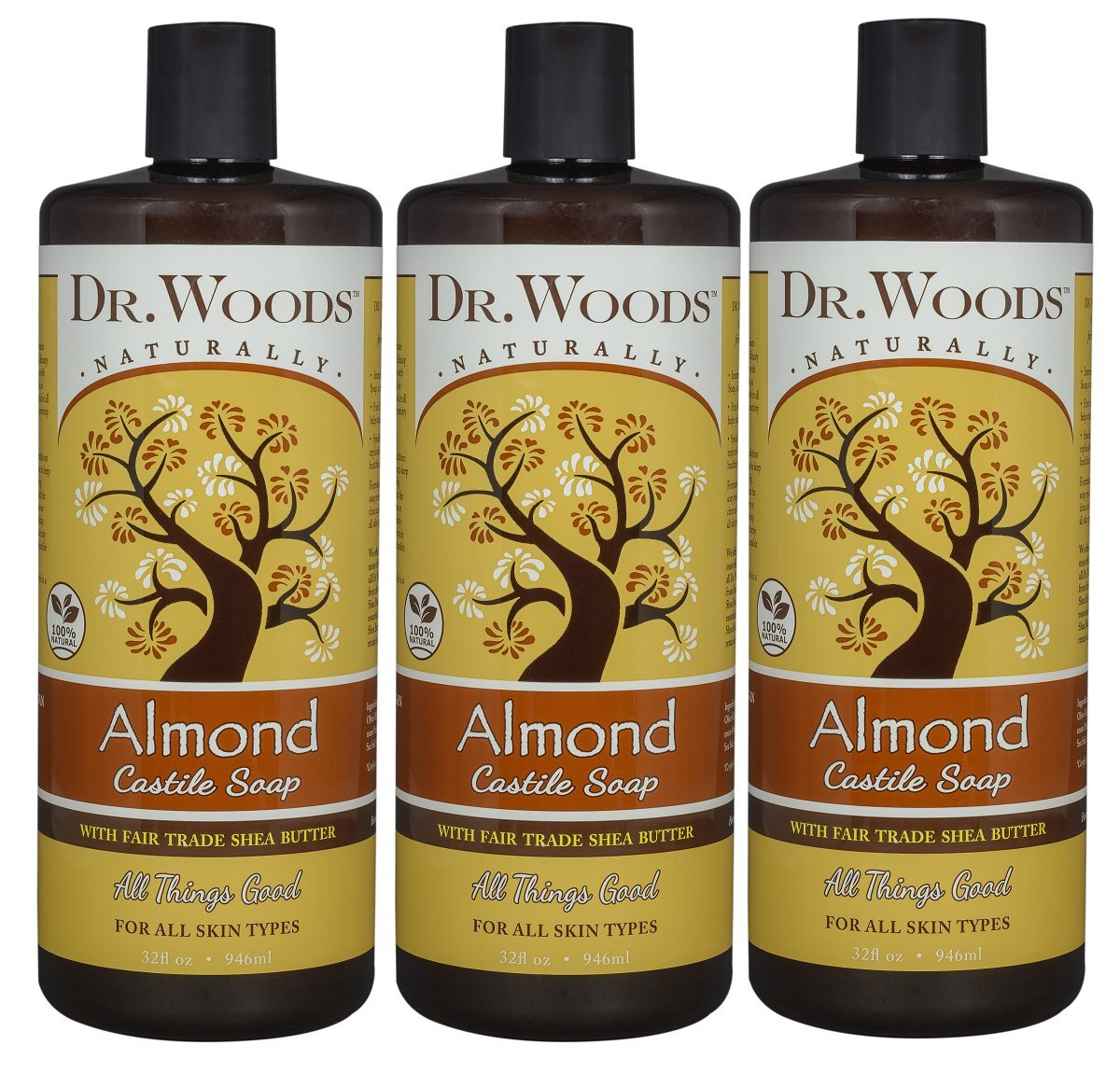 Dr  Woods Pure Almond Liquid Castile Soap with Organic Shea Butter, 32  Ounce (Pack of 3)