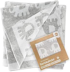Fillikid Manta para bebé Elefantes 100x75 cm / Arrullo / Mantita de punto para minicuna, cochecito y silla de paseo / 100% algodón, muy suave, reversible, lavable a 30°C - Gris: Amazon.es: Hogar