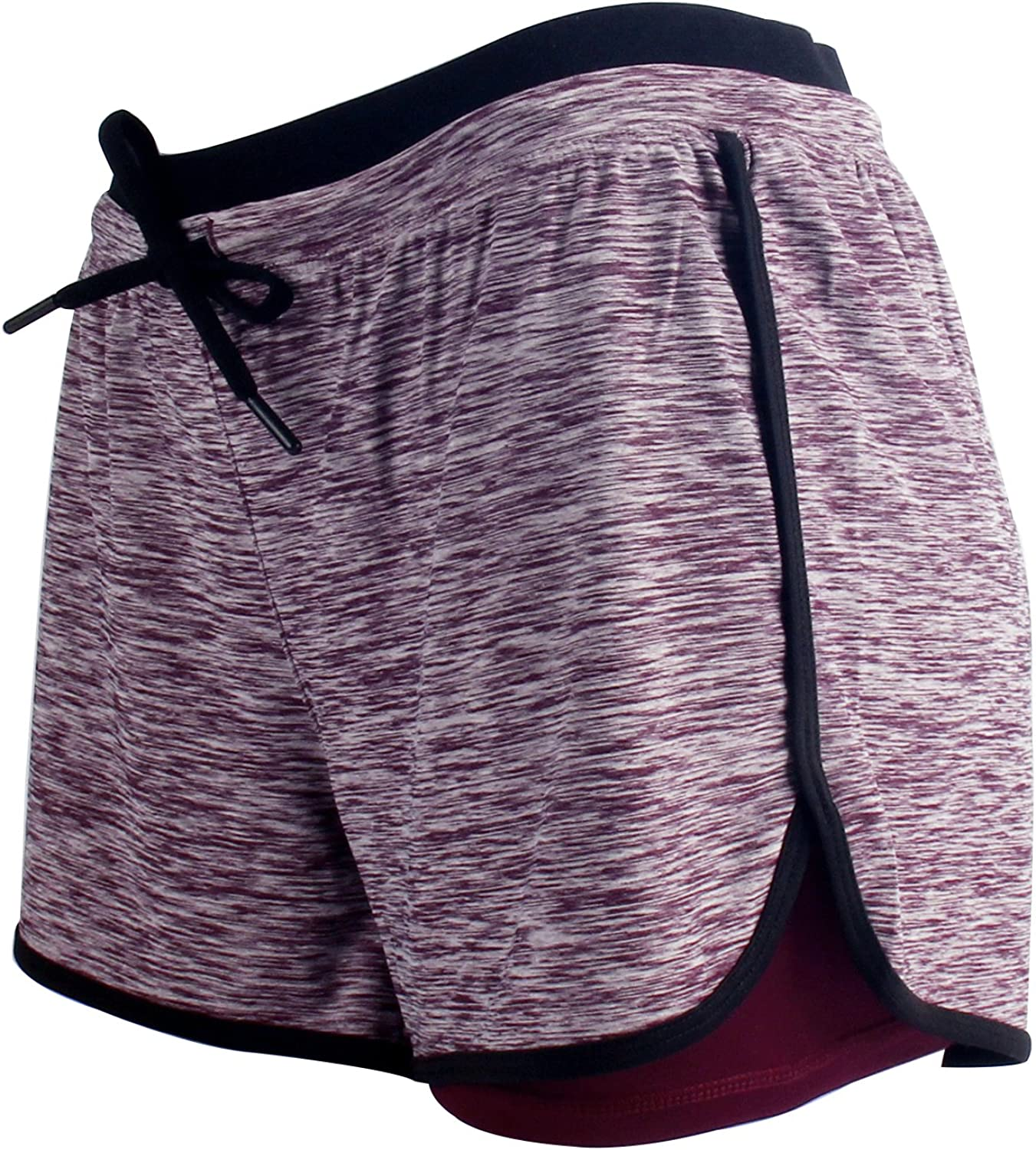 RIBOOM Women Workout Fitness Running Shorts Double Layer Active Yoga Gym Sport Shorts