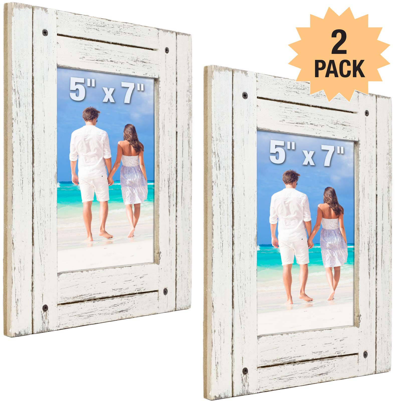 Rustic Shabby Chic White Weathered Distressed Vintage Style Wooden Picture Frame with Self-Stand Easel, Holds a 5''x7'' Photo (Pack of 2) by Excello Global Products