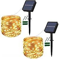 Solcellslampor utomhus, 2-pack 120 LED solcellslampor vattentäta 12 m/40 fot 8 lägen inomhus/utomhus ljusslingor…