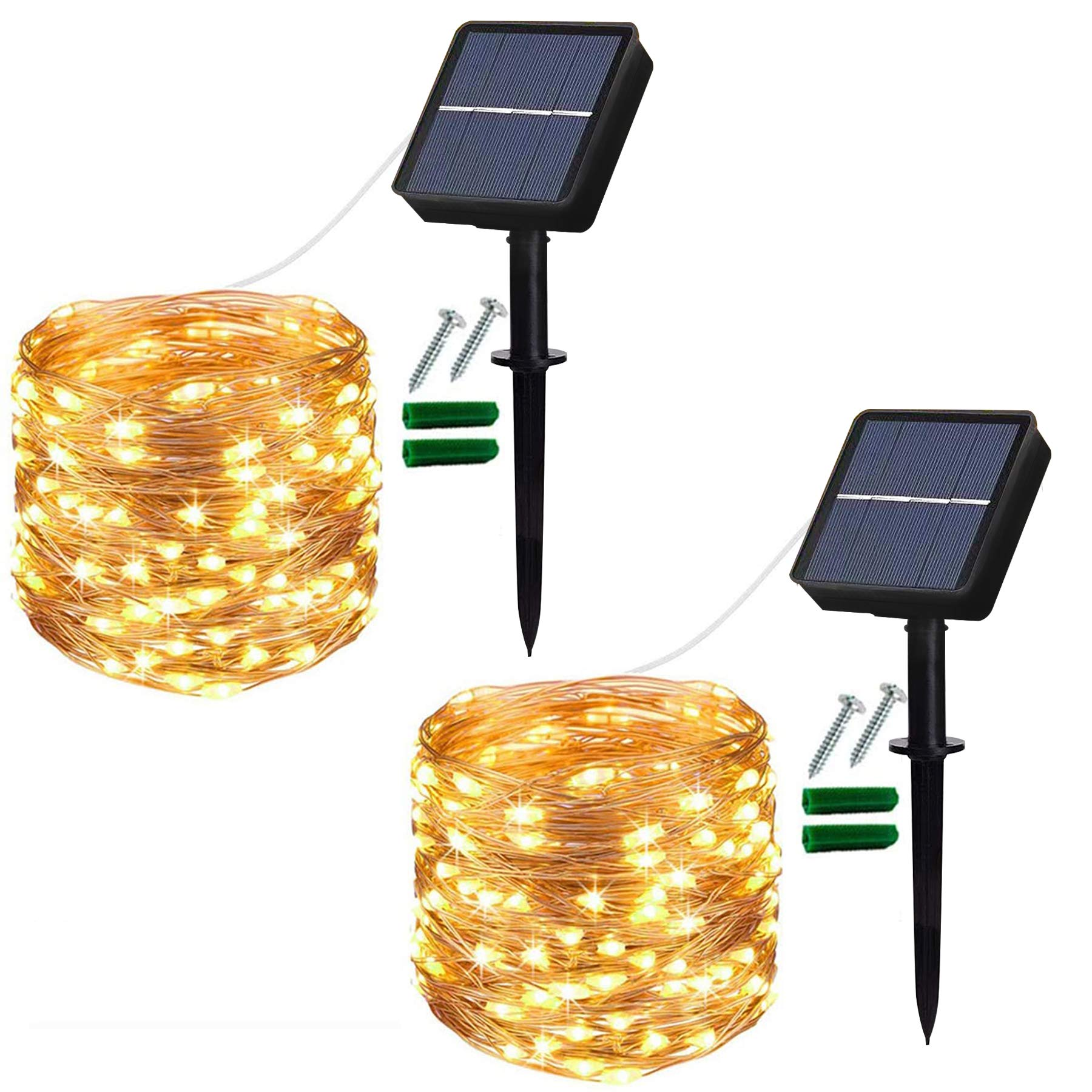 Solar String Lights Outdoor, 2 Pack 120 LED Solar Garden Lights Waterproof 12M/40Ft 8 Modes Indoor/Outdoor Fairy Lights Copper Wire Decorative Lighting for Patio, Yard, Party, Wedding (Warm White) [Energy Class A+++]
