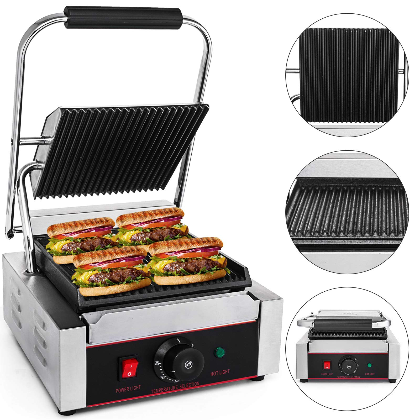Happybuy Sandwich Press Grill 110V Panini Maker and Grill 1800W Commercial Panini Grill Durable Stainless Steel Construction with Adjustable Temperature Control Cooking Non Stick Surface Grooved Plates