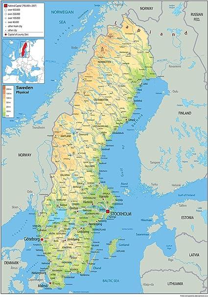 Schweden Physikalische Karte Papier Laminiert A0 Size 84 1 X