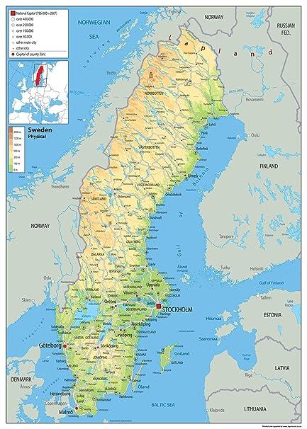 Cartina Della Svezia.Svezia Mappa Fisica Carta Plastificata A0 Size 84 1 X