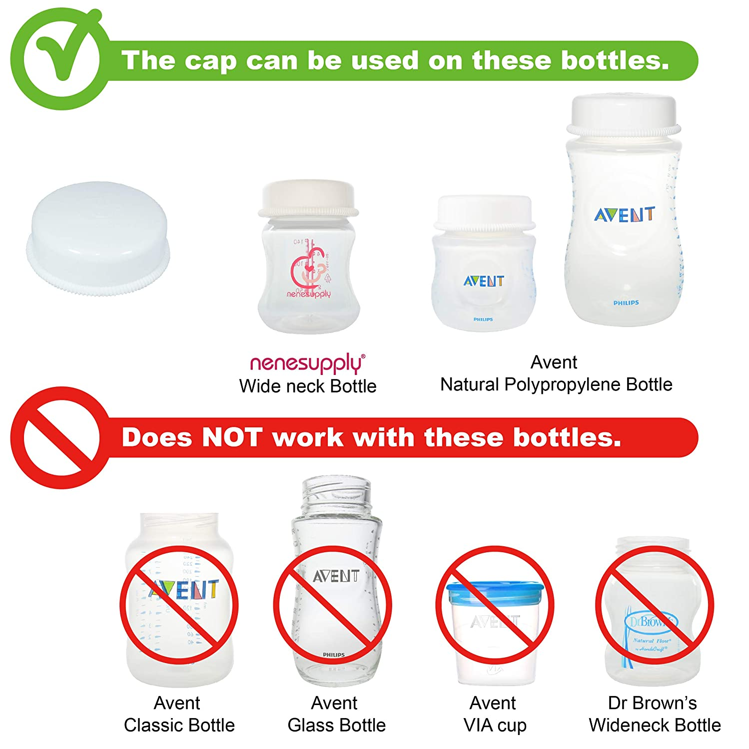 Wide Mouth Breastmilk Collection Storage Bottle Use on Spectra S1 Spectra S2 Avent Breastpump Not Original Spectra S2 Accessories Not Original Spectra Pump Parts Replace Spectra Bottle or Avent Bottle