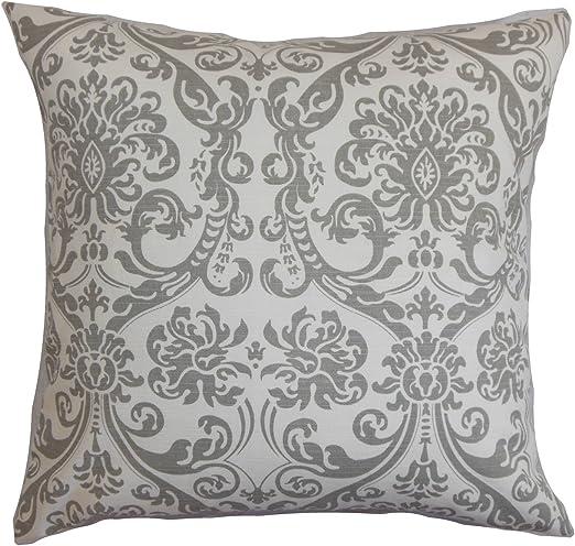 The Pillow Collection Saskia Damask Pillow Gray Home Kitchen