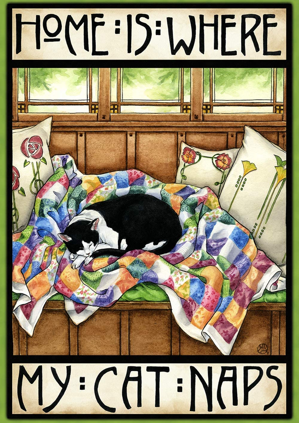 """Toland Home Garden 1112313 Home is Where My Cat Naps 12.5 x 18 Inch Decorative, (12.5"""" x 18""""), Double Sided Garden Flag"""