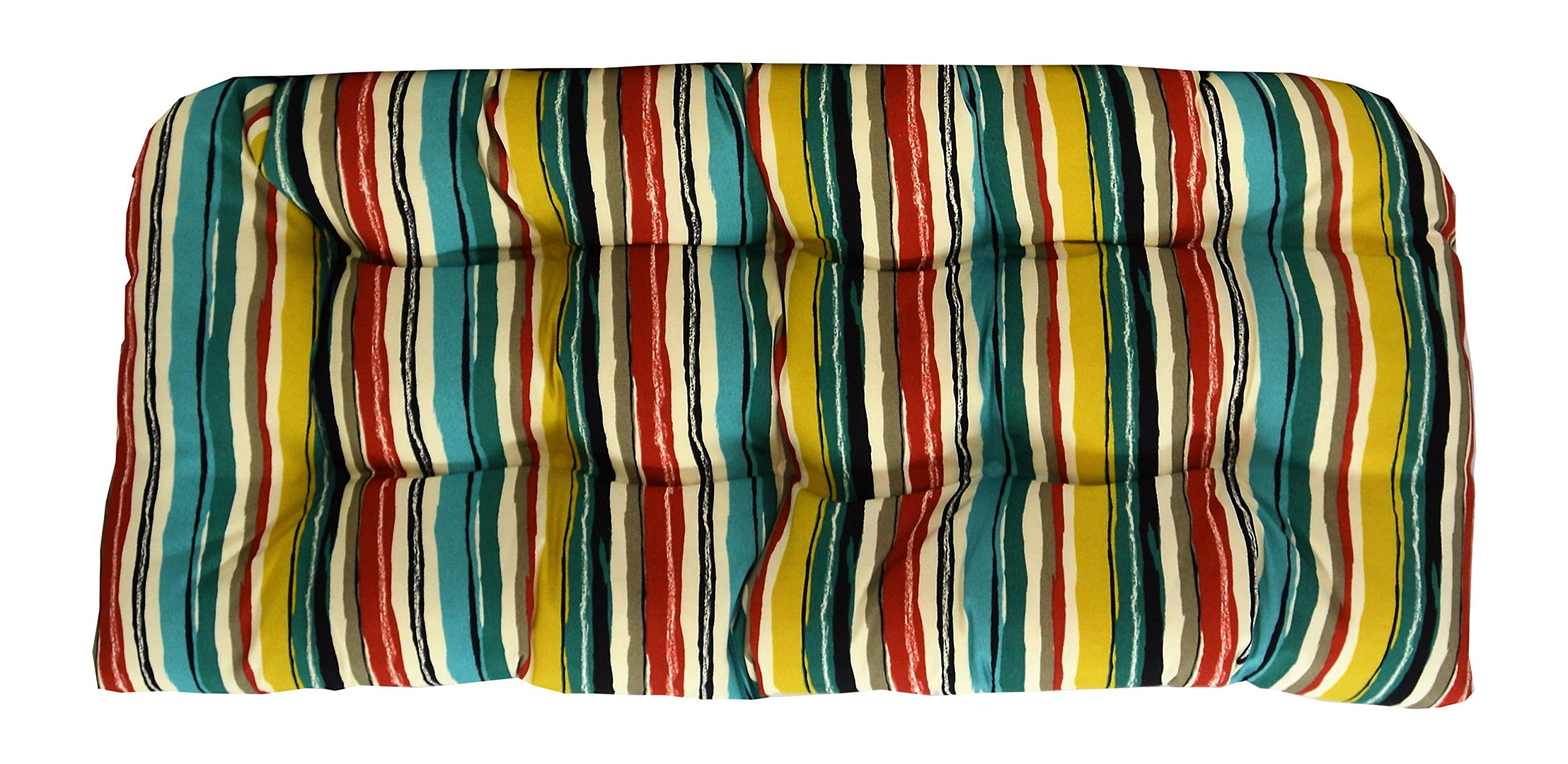 RSH Décor Indoor/Outdoor Wicker Chair Cushion Loveseat Sigmund Fresco Colorful Abstract Stripes Yellow Red Blue White Black