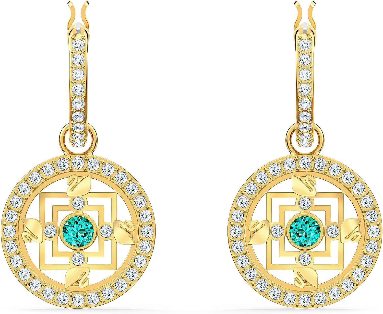 Swarovski Pendientes de aro Symbolic Mandala, verde, baño tono oro