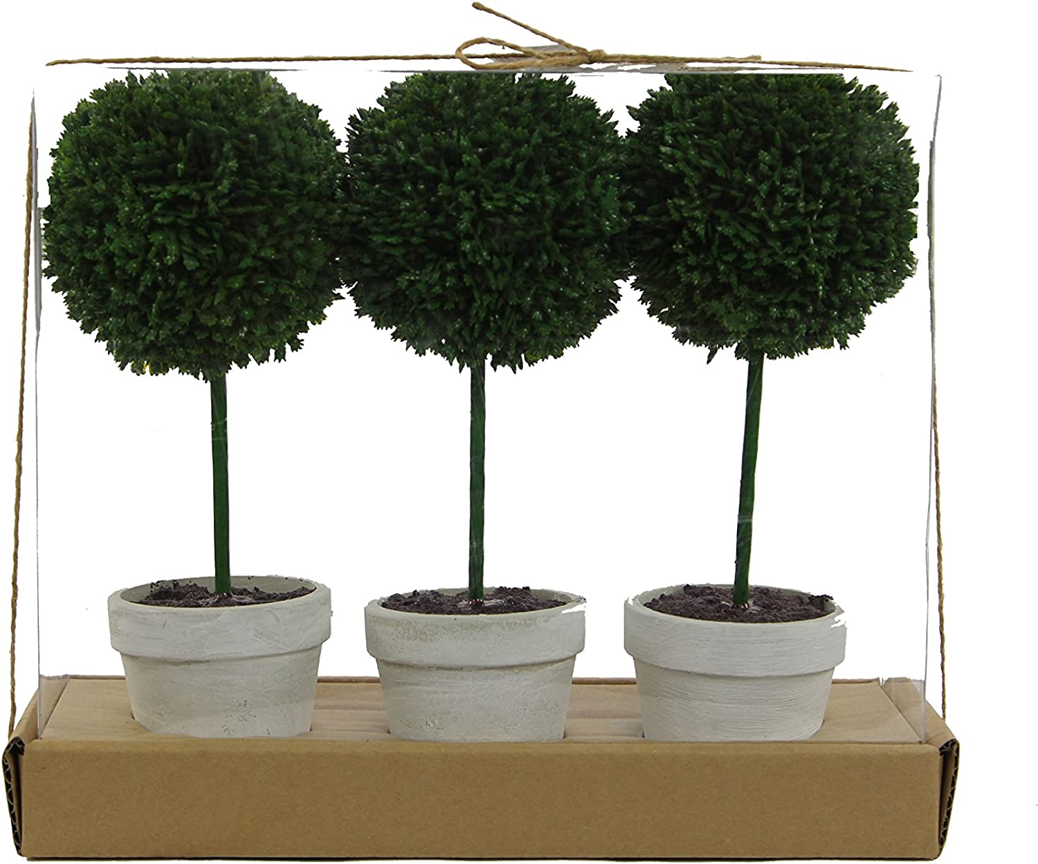 "Admired By Nature 9"" H Artificial Boxwood Ball Topiary Plant Tabletop, Set of 3"