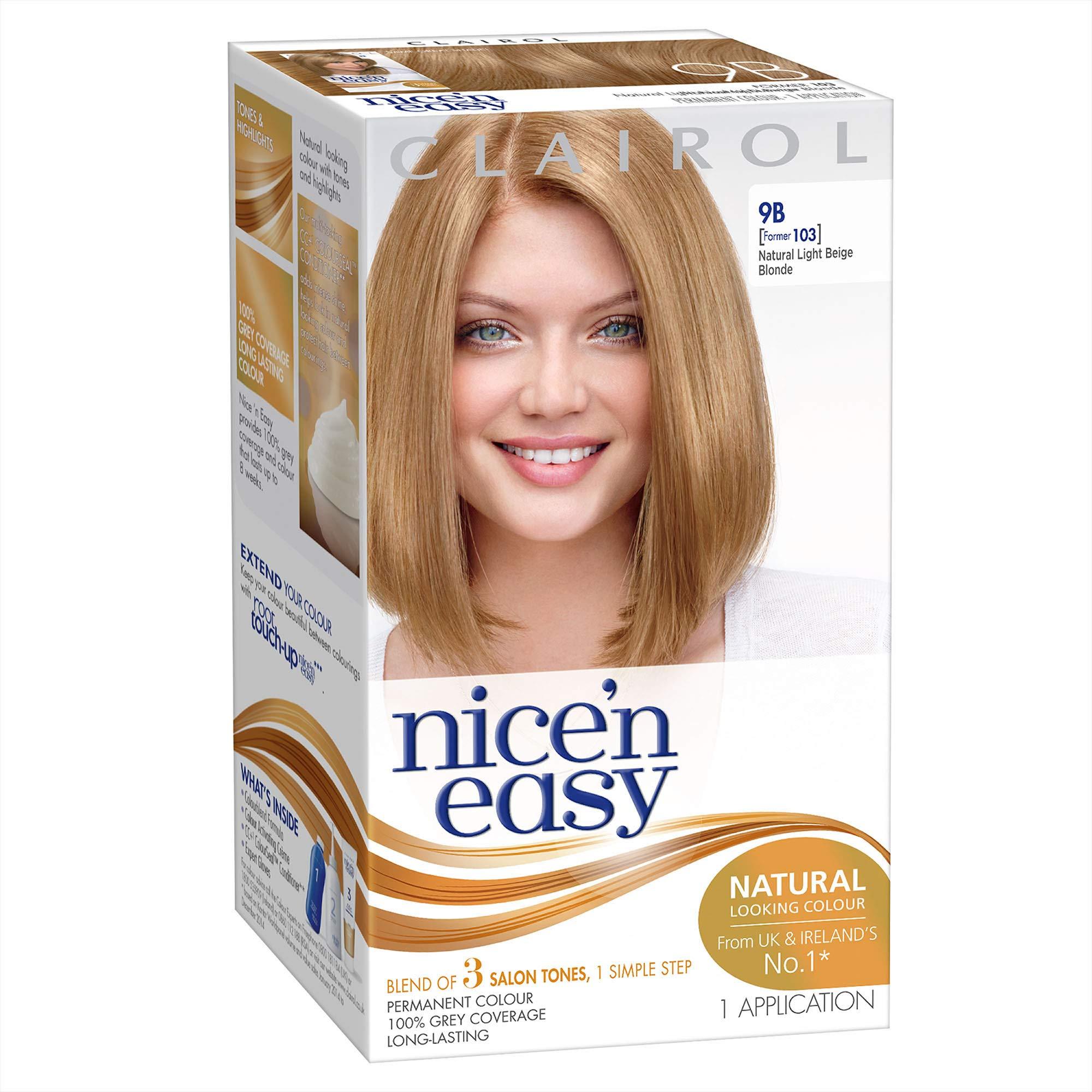Clairol Nice'n Easy Liquid, Natural Looking Permanent Hair Dye, 9B Natural Light Beige Blonde (ORIGINAL)