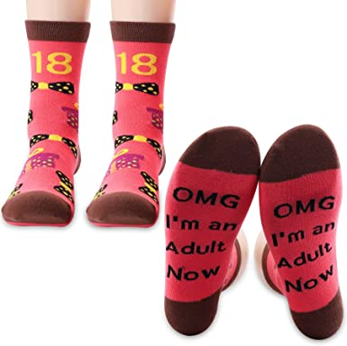 PXTIDY 18 Year Old Girl Birthday Gift OMG Im an Adult Now Socks Funny Adult Birthday Gifts for Girl