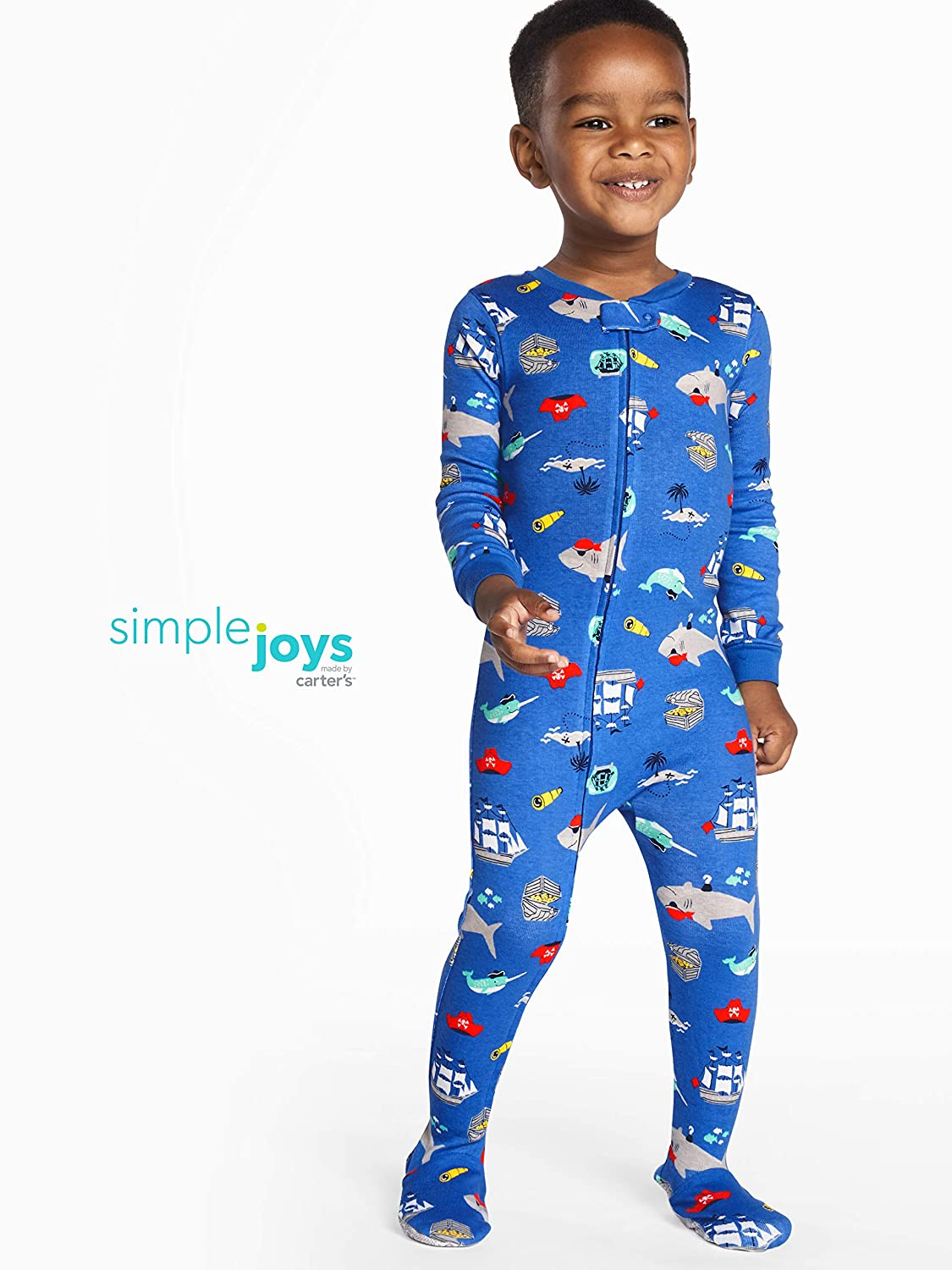 54de0ea59 Amazon.com: Simple Joys by Carter's Baby and Toddler Boys' 3-Pack Snug Fit  Footed Cotton Pajamas: Clothing