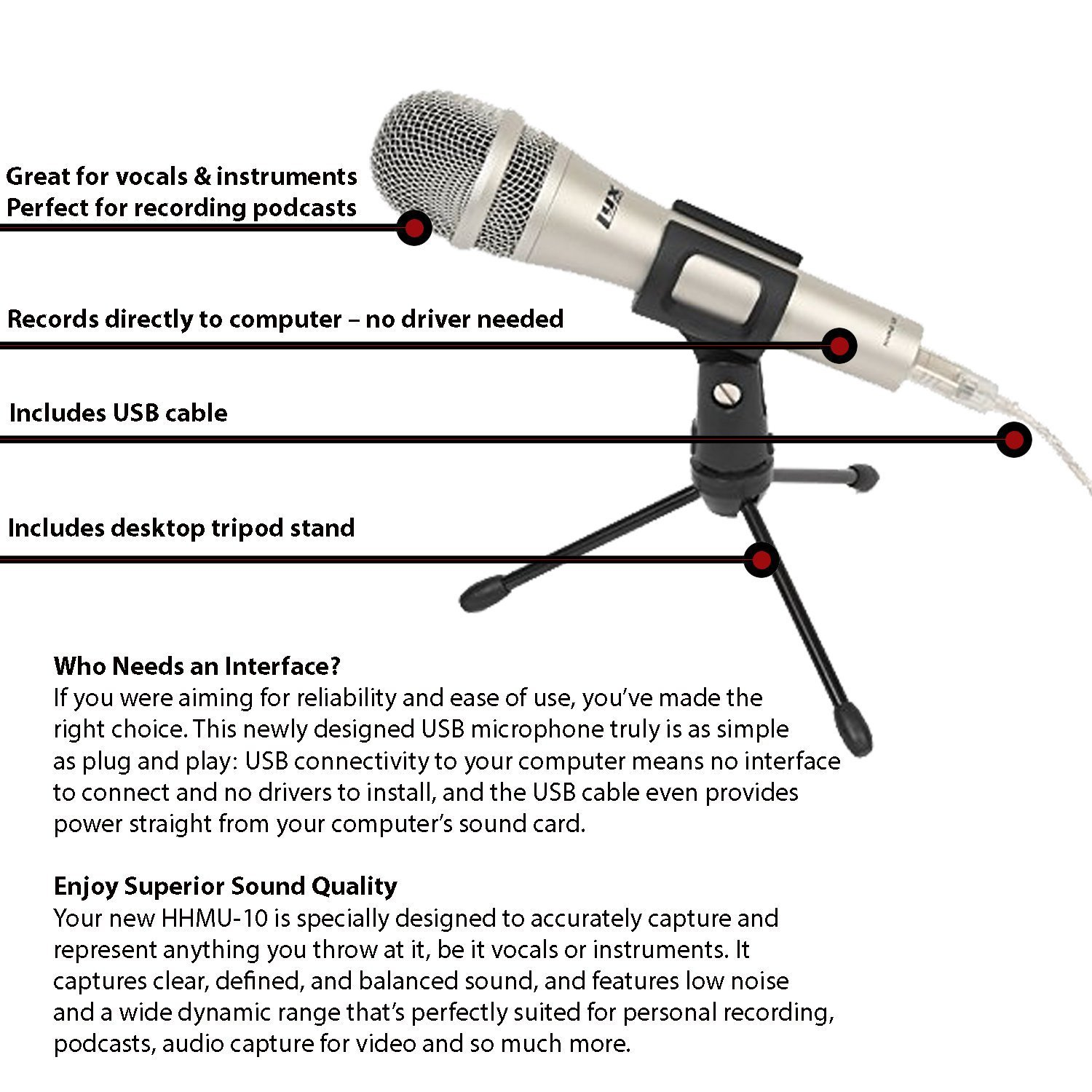 LyxPro HHMU-10 Cardioid Dynamic USB Microphone for Home Recording, Voice  Over & Podcasting, Includes Desktop Tripod Stand & USB Cable